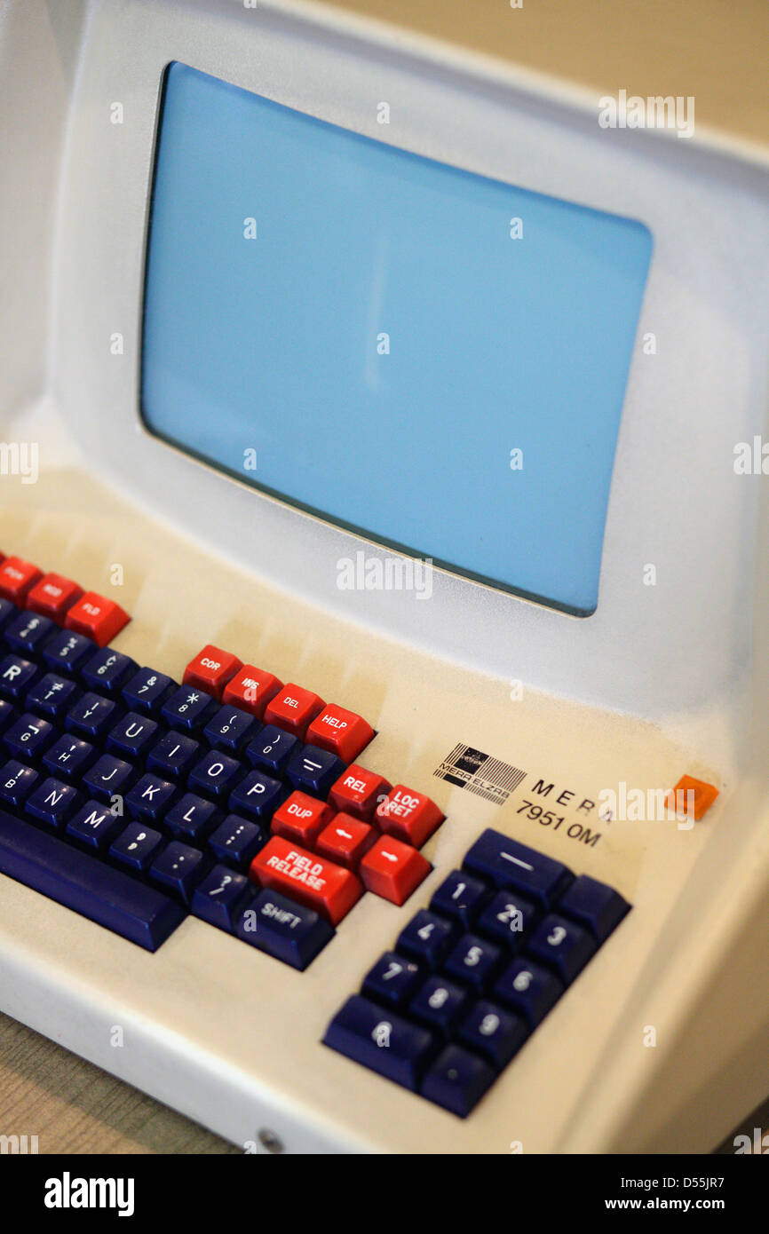 Warsaw, Poland, a MERA 7951 OM computer with monitor and keyboard Stock Photo