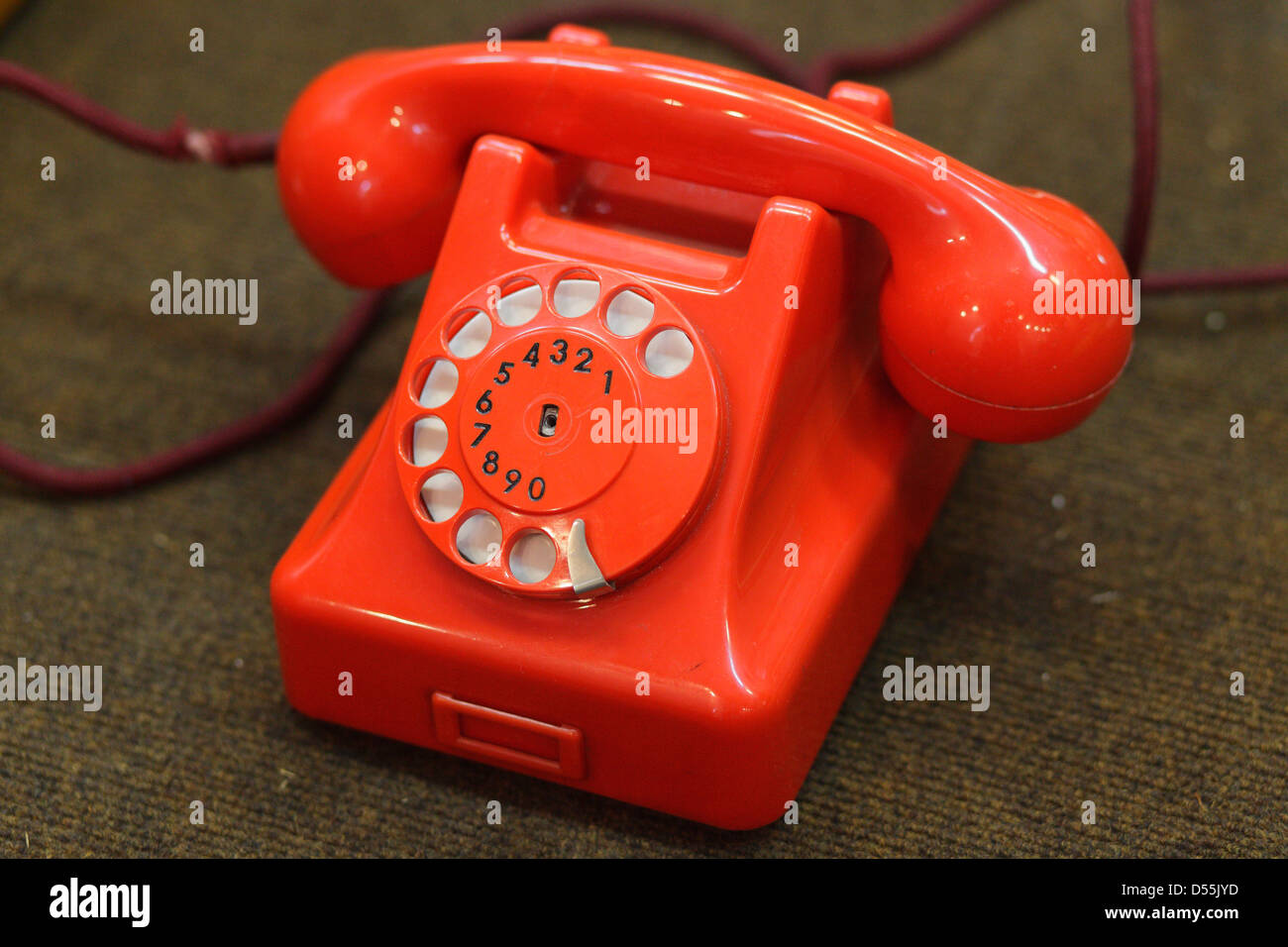 Warsaw, Poland, red rotary phone at the Technical Museum - Stock Image