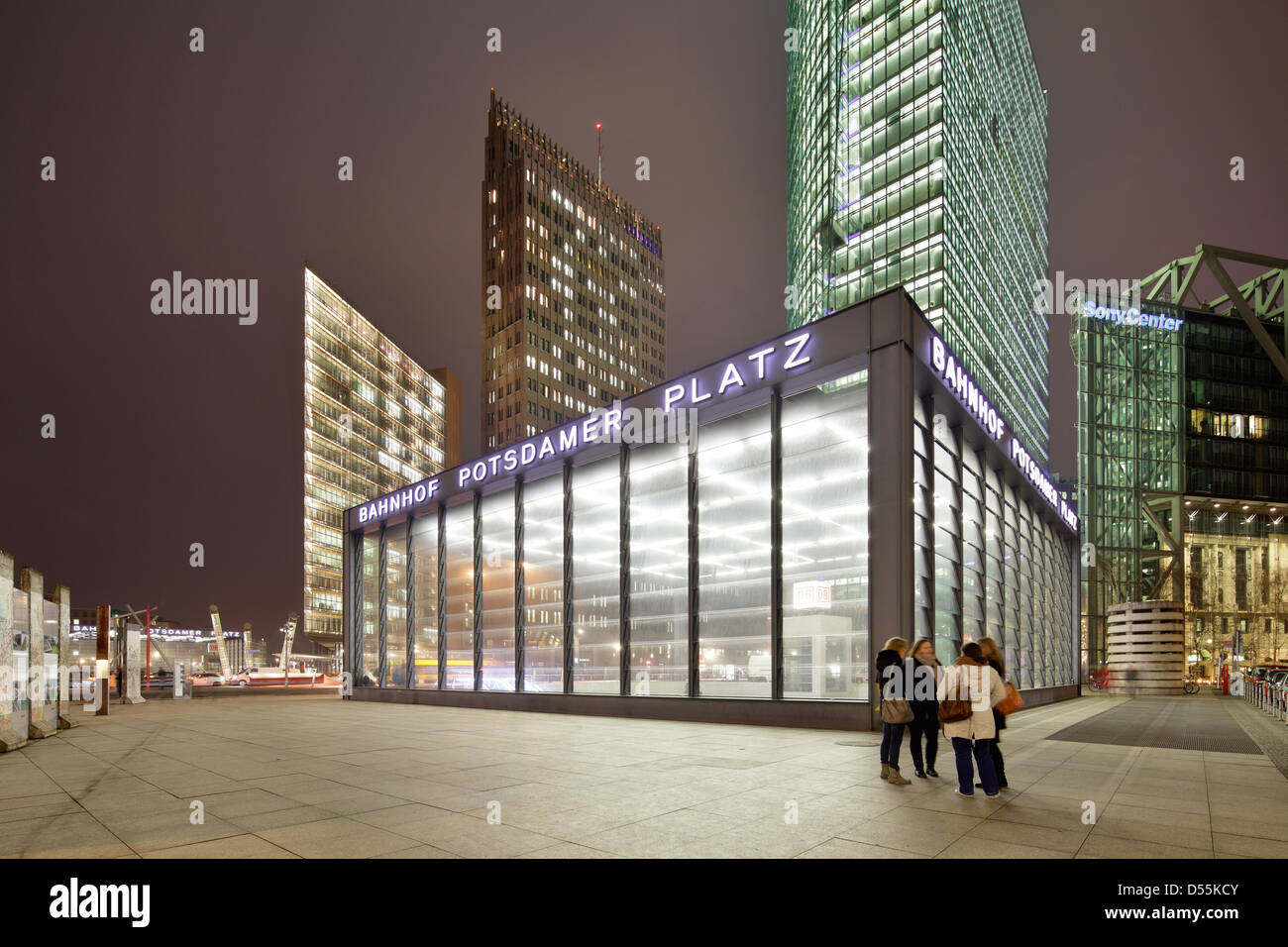 Berlin, Germany, illuminated front buildings at Potsdamer Platz at night Stock Photo