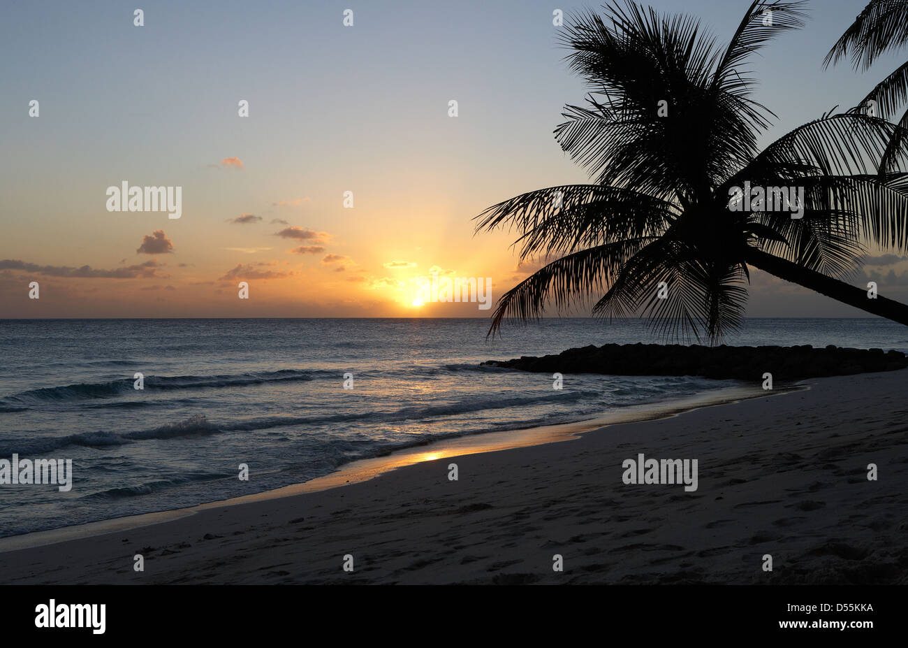 St. Lawrence Gap, Barbados, Evening at Dover Beach Stock Photo
