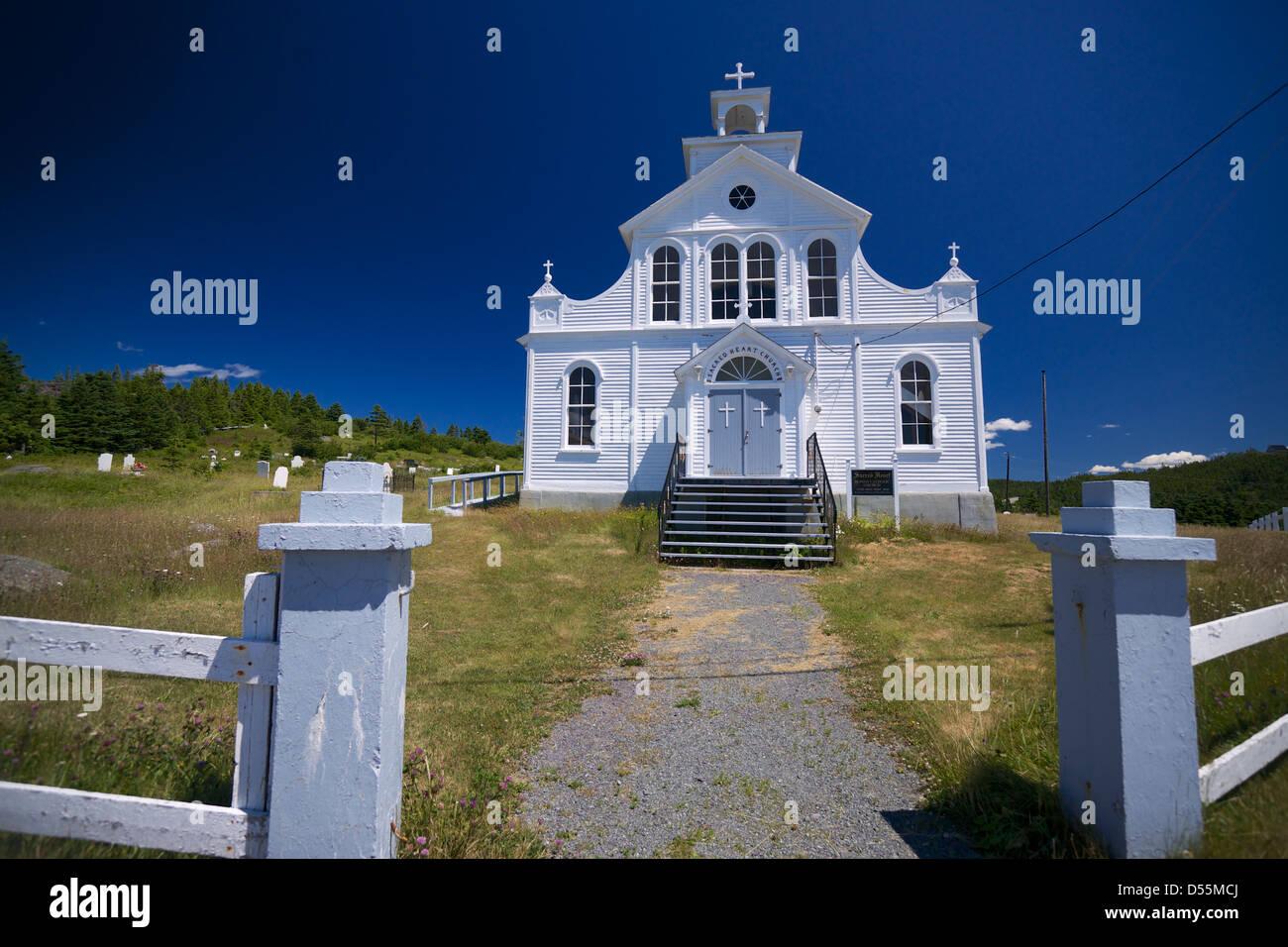 Sacred Heart Roman Catholic Church (Exterior) Open Hall, Bonavista Bay, Newfoundland. - Stock Image