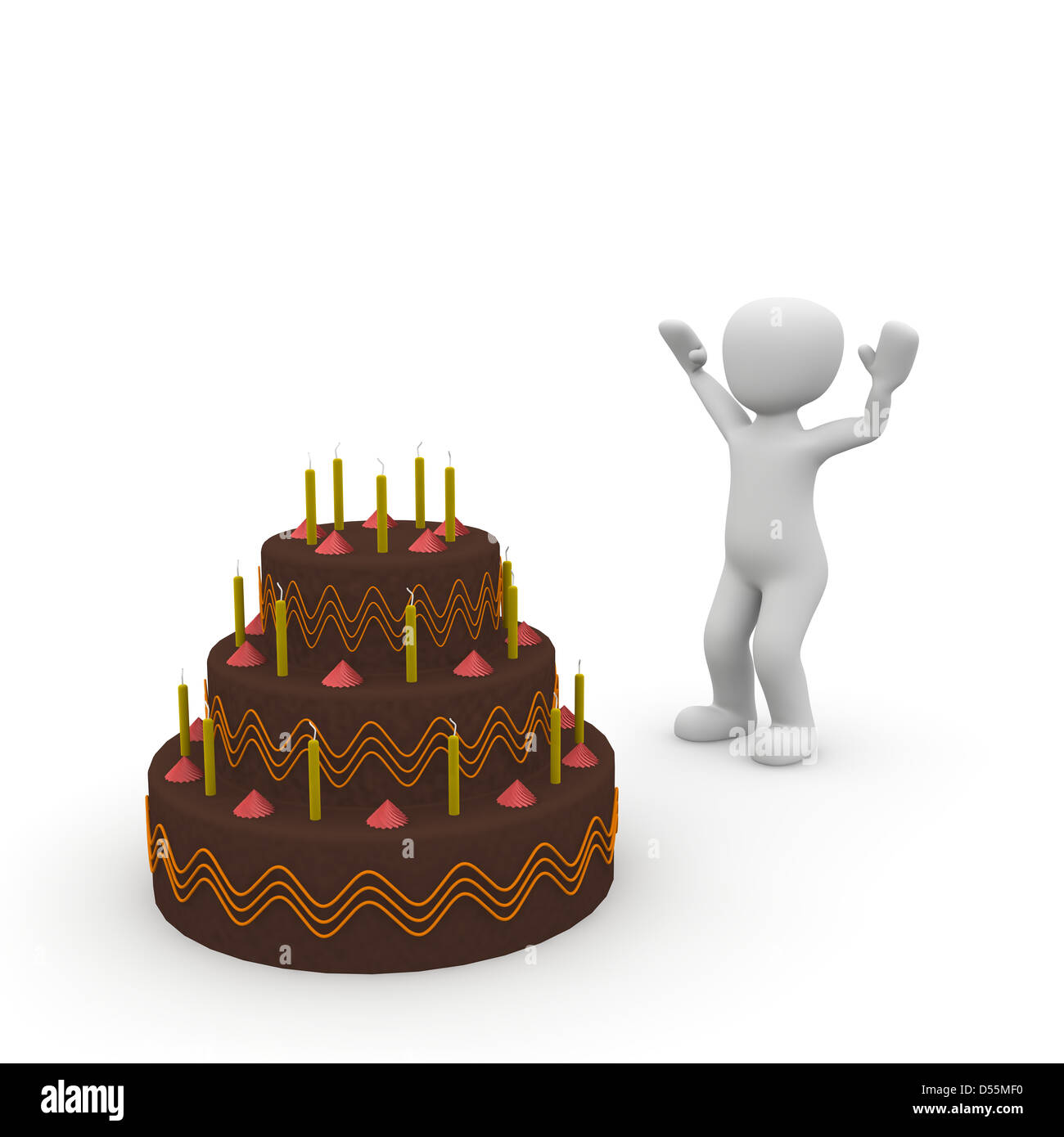 A Huge Birthday Cake Made Of Chocolate Is Delicious Stock Photo