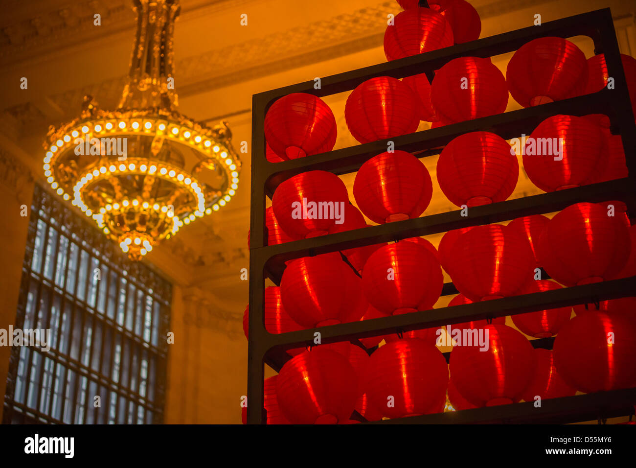 Decorative Red Lanterns Counterpoint The Ornate Chandeliers