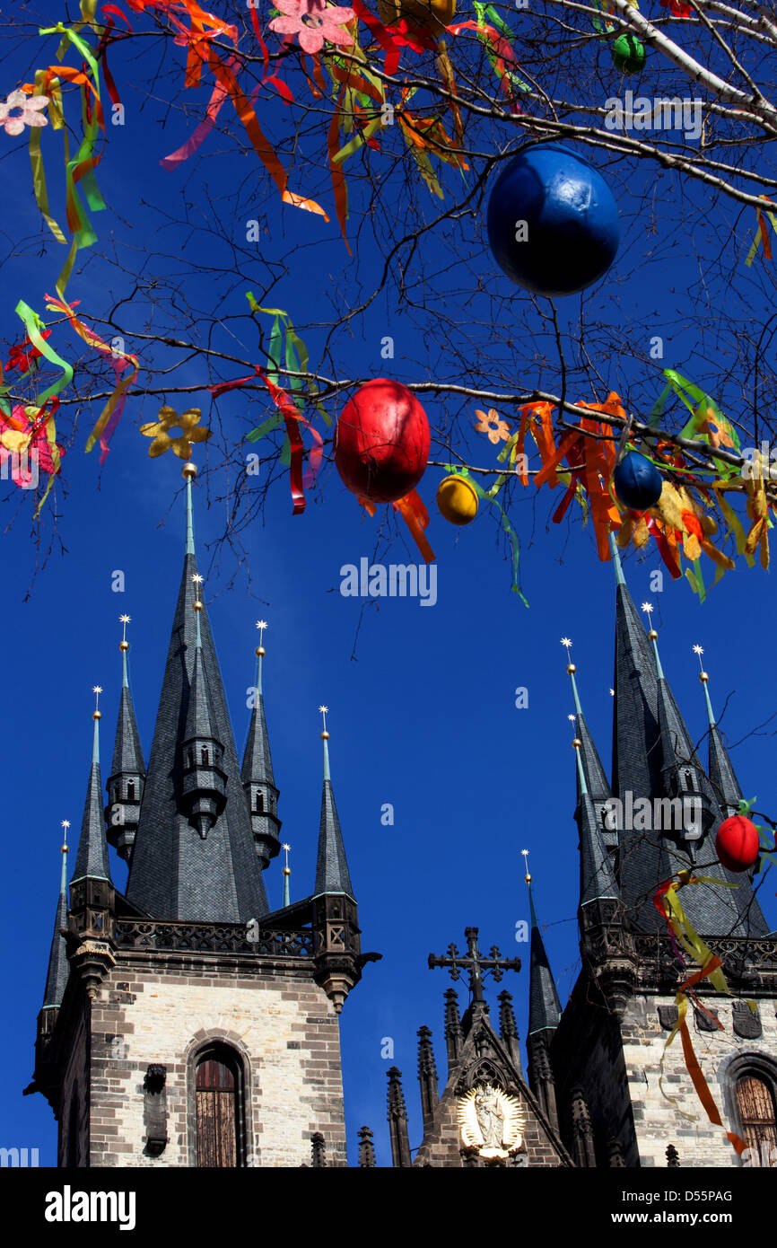 A colorfully decorated tree, Easter, traditions, holidays, Old Town Square Prague Czech Republic - Stock Image