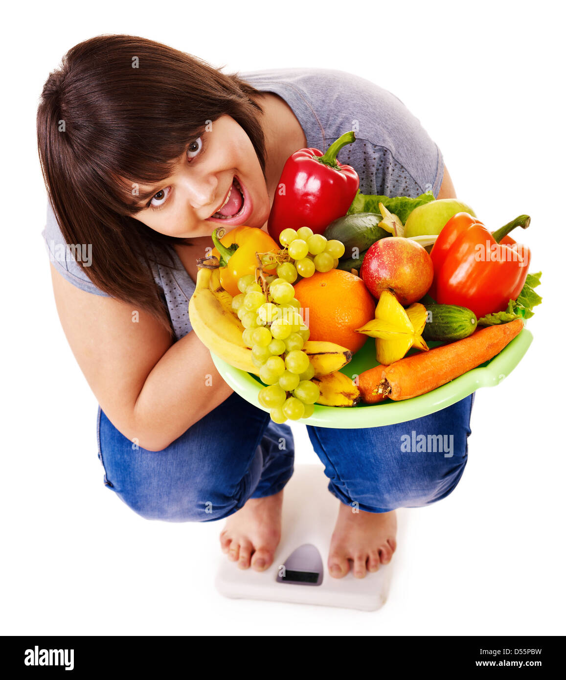 Woman weight loss on scales. - Stock Image