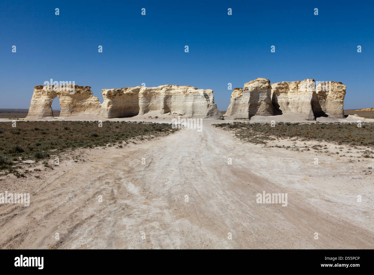 Rock formations on a landscape, Monument Rocks, Gove County