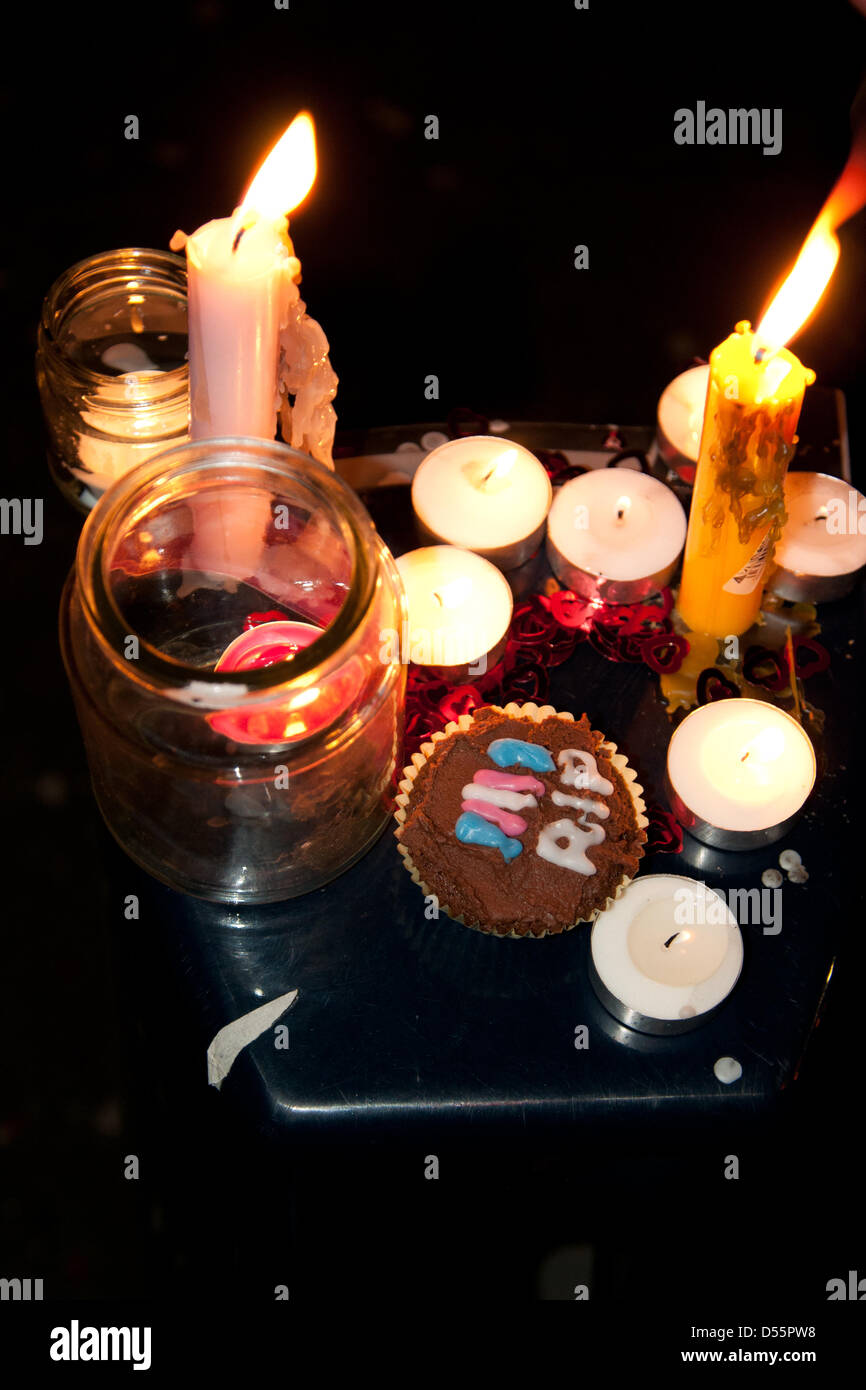 London, UK. 25th March, 2013.   A candle-lit vigil is held in sympathy with deceased schoolteacher Lucy Meadows - Stock Image