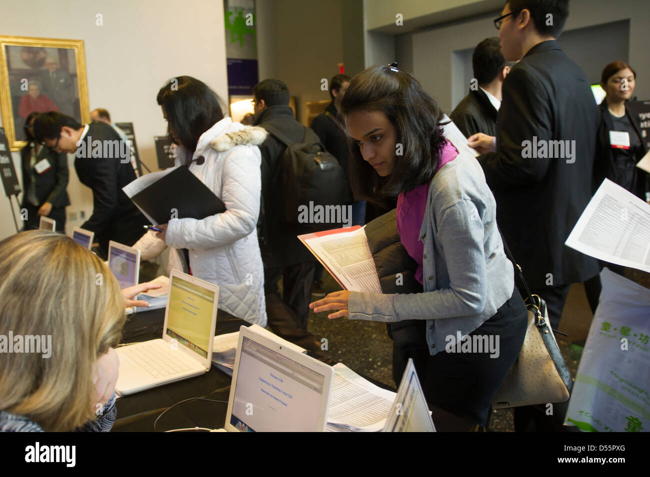 Engineers and applied science students attend a Career Fair in Brooklyn in New York - Stock Image