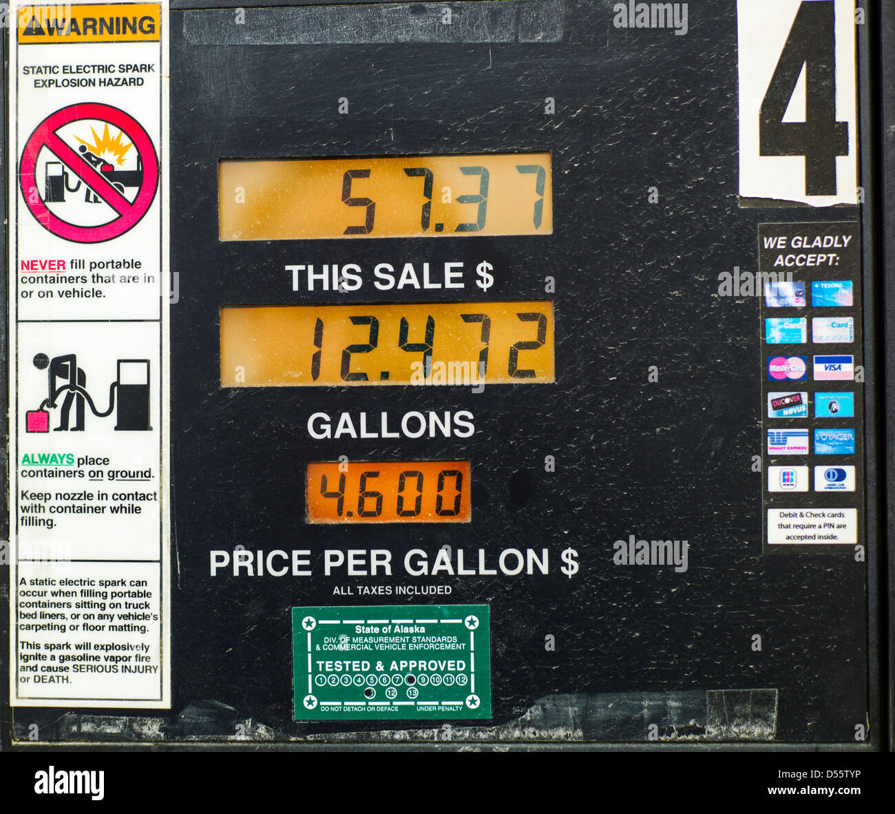 Automotive gasoline $4.60 per gallon just outside Denali National Park, Alaska, USA - Stock Image