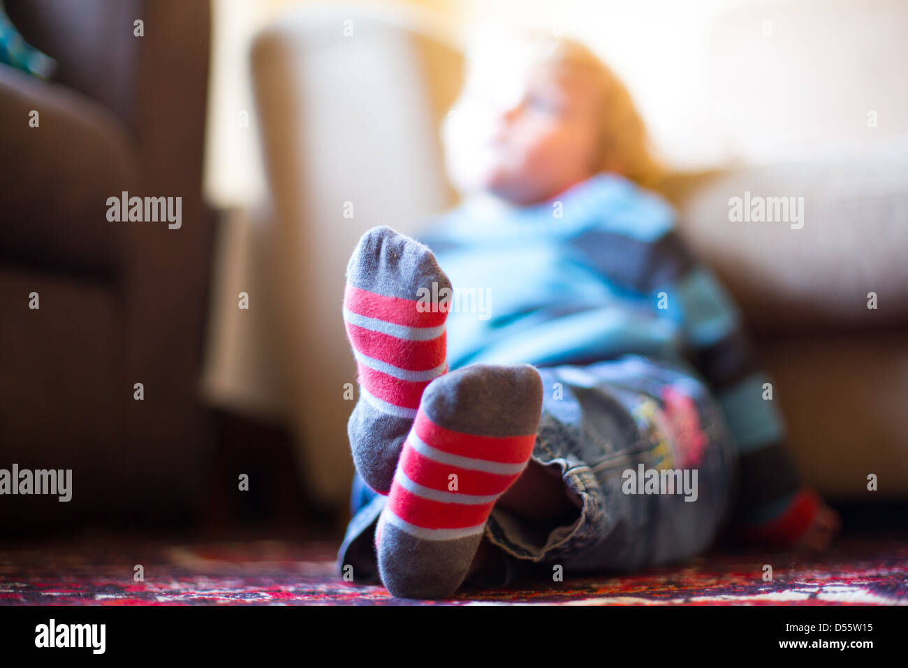 Young Boy Watching the Television - Stock Image