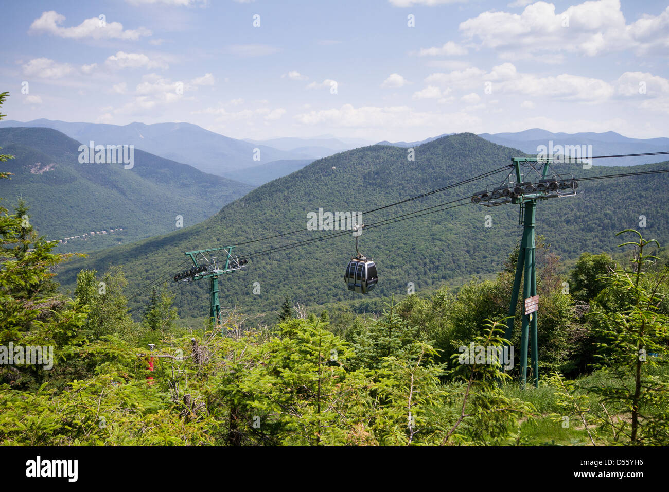 gondola skyride at loon mountain resort, nh - with mountain