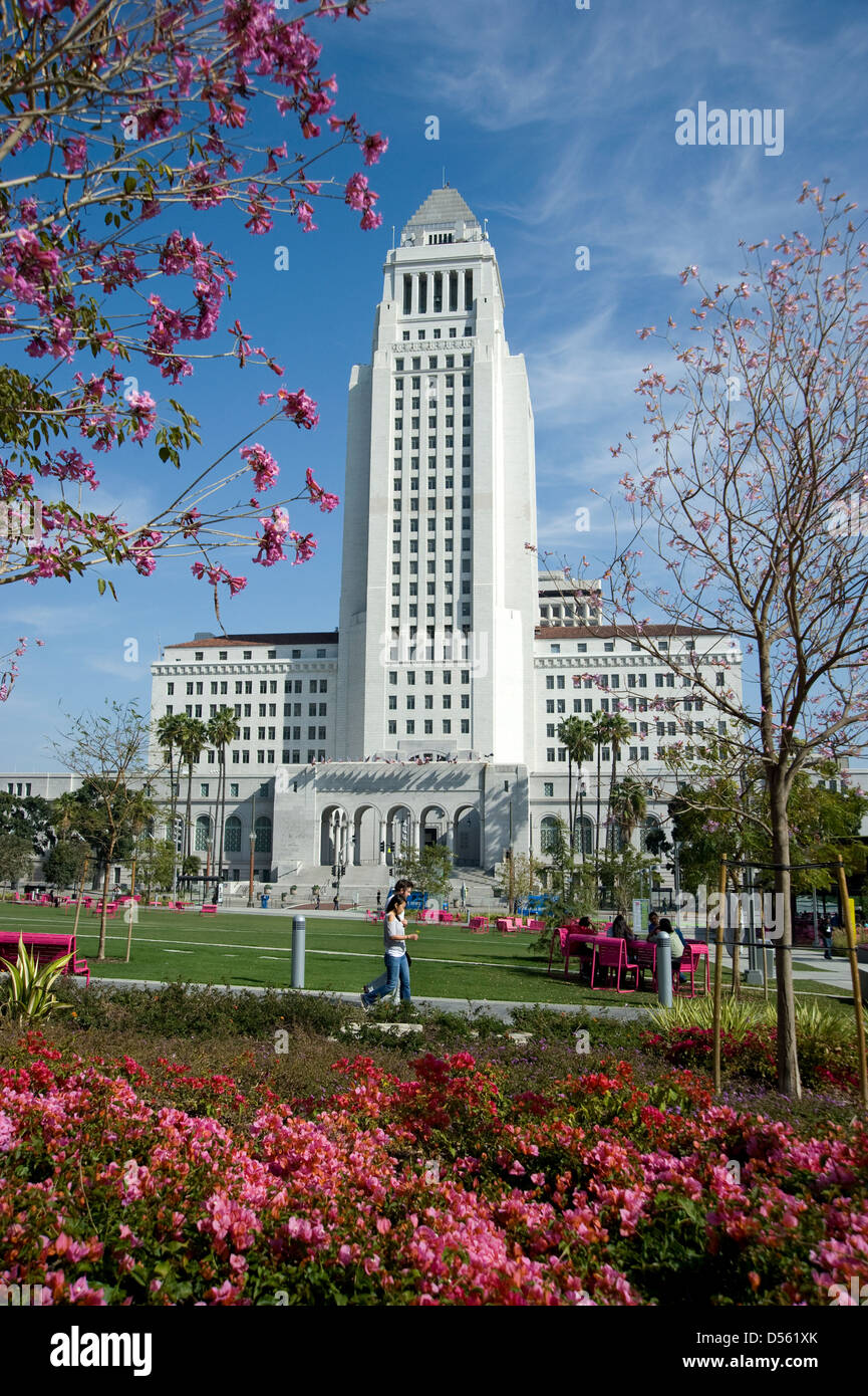 City Hall building in downtown Los Angeles - Stock Image