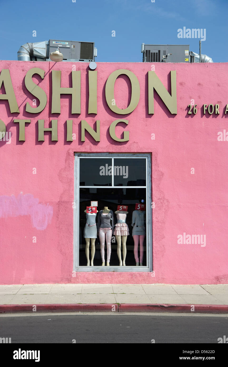 Display window in women's clothing store in Los Angeles, CA - Stock Image