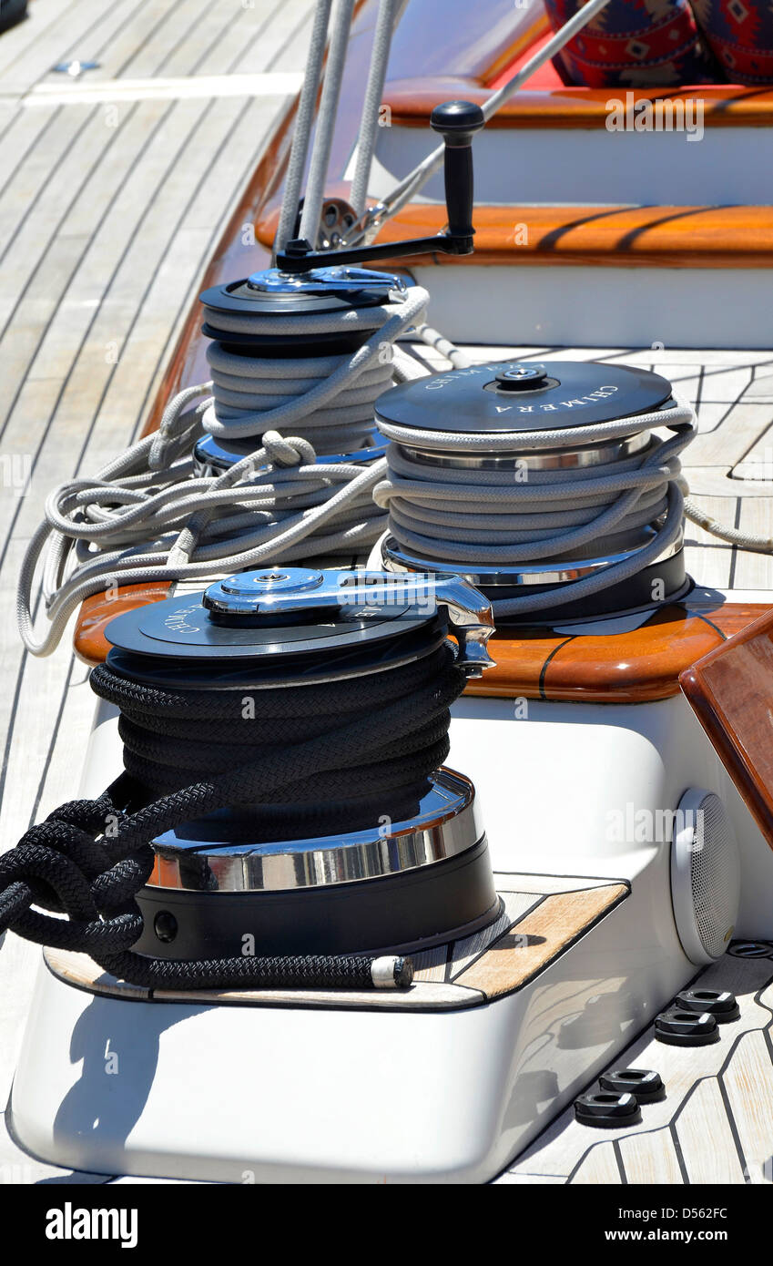 Main winches on sailing yacht Chimera, a 32 metre sail yacht built by Alloy Yachts New Zealand - Stock Image