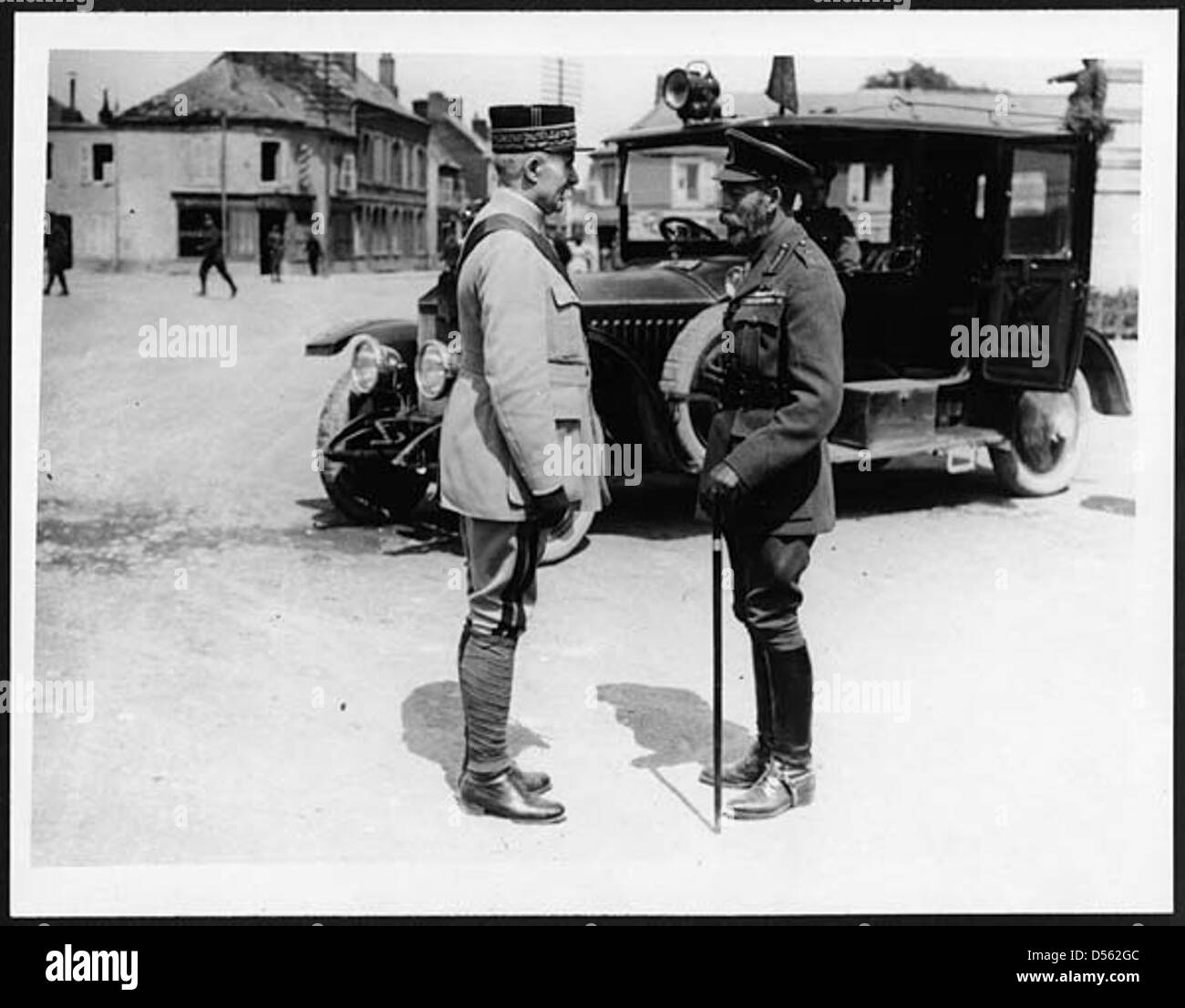 H.M. and General Petain - Stock Image