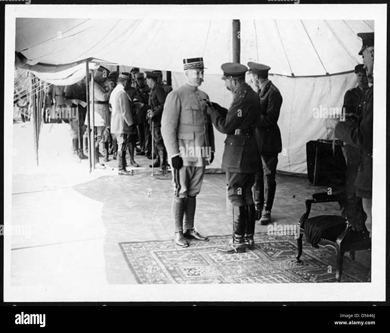 H.M. decorating General Petain - Stock Image