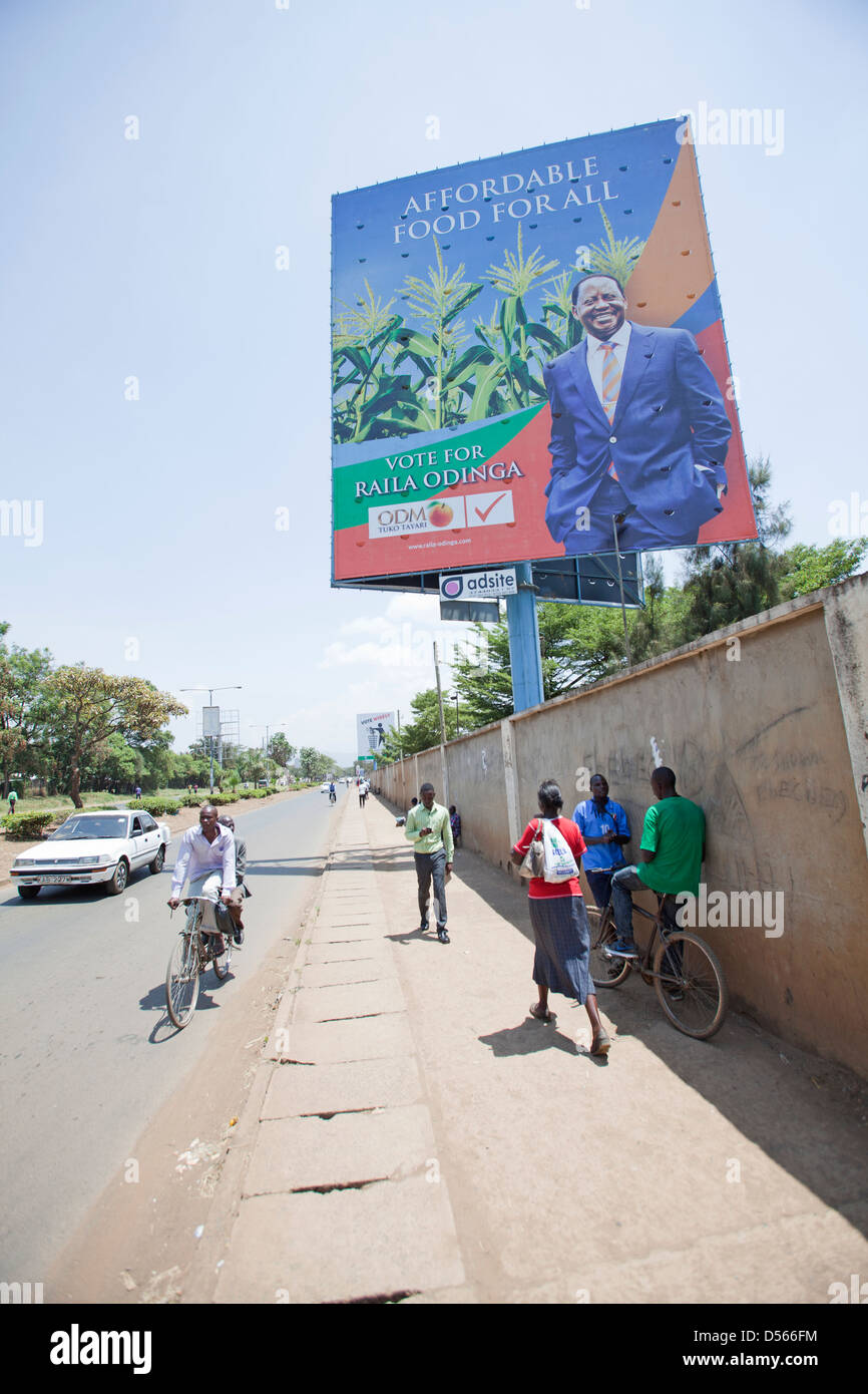 Political poster for Raila Odinga and the ODM party promising 'Affordable food for all' Kisumu, Kenya. February - Stock Image