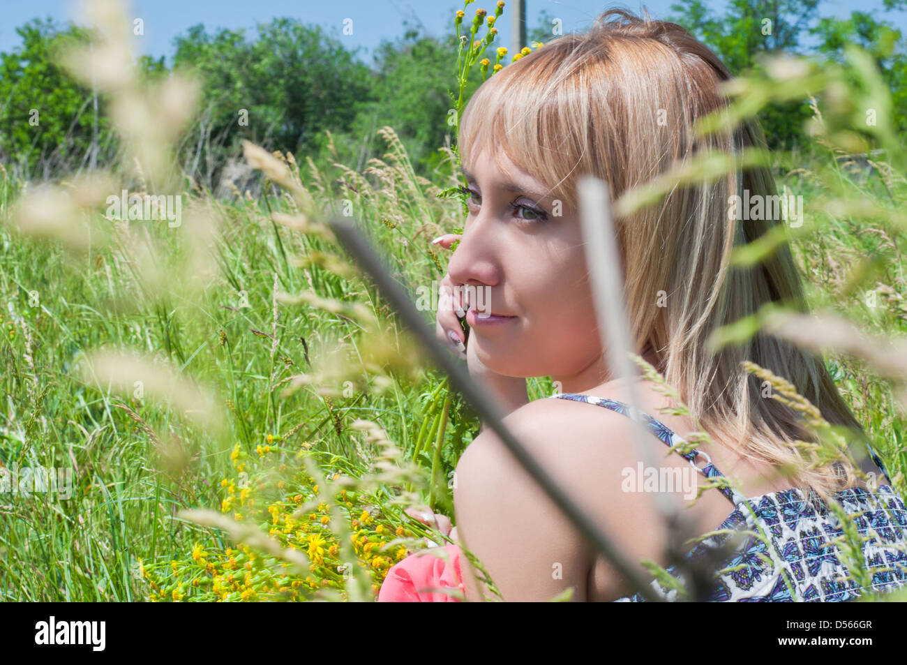 the beautiful young girl on a meadow collects flowers and the sun basks in - Stock Image