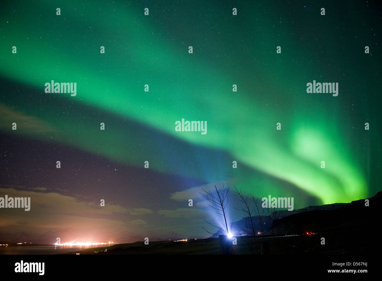 The aurora borealis or the northern lights north of Reykjavik in Iceland - Stock Image