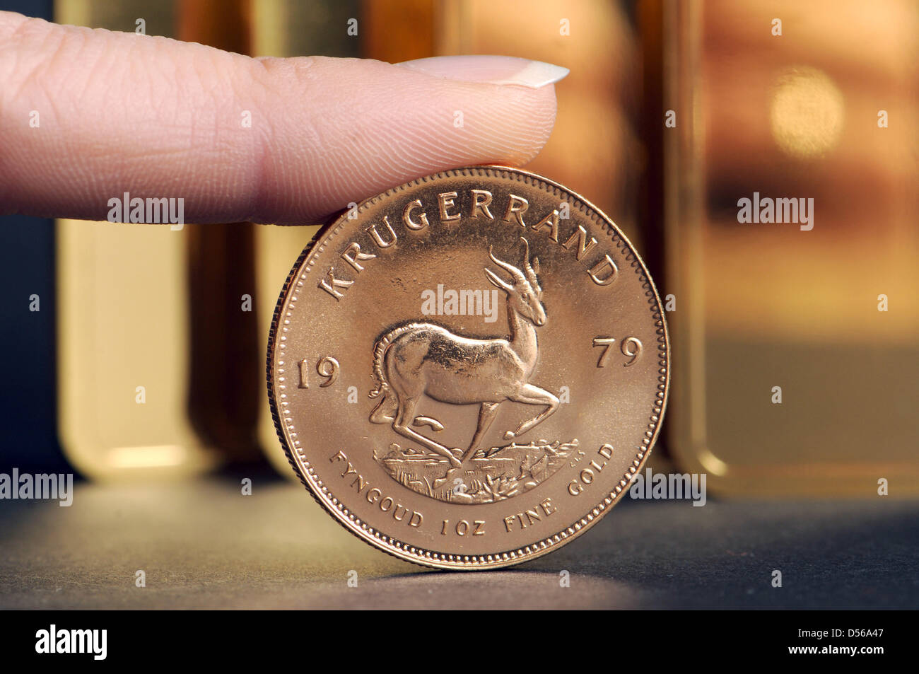 (dpa file) A file picture dated 20 March 2008 of a Krugerrand gold coin in Straubing, Germany. The price of gold - Stock Image