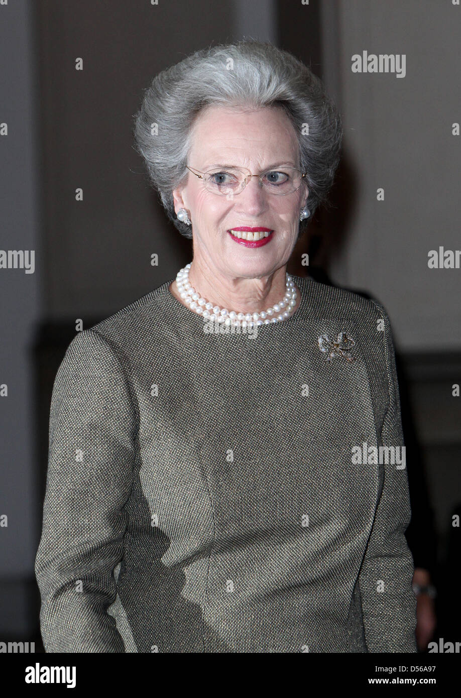 Princess Benedikte arrives at Christiansborg Castle for a reception and a concert for diplomates on the occasion - Stock Image