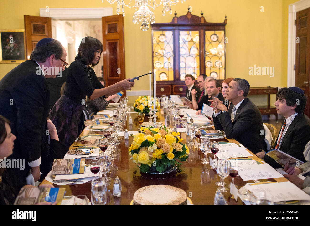 US President Barack Obama and First Lady Michelle Obama host a Passover Seder Dinner for family, staff and friends - Stock Image