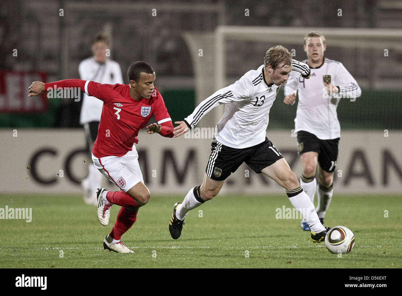 Germany's Maximilian Beister (R)and England's Ryan Betrend (L)vie for the ball during Under21 - Stock Image