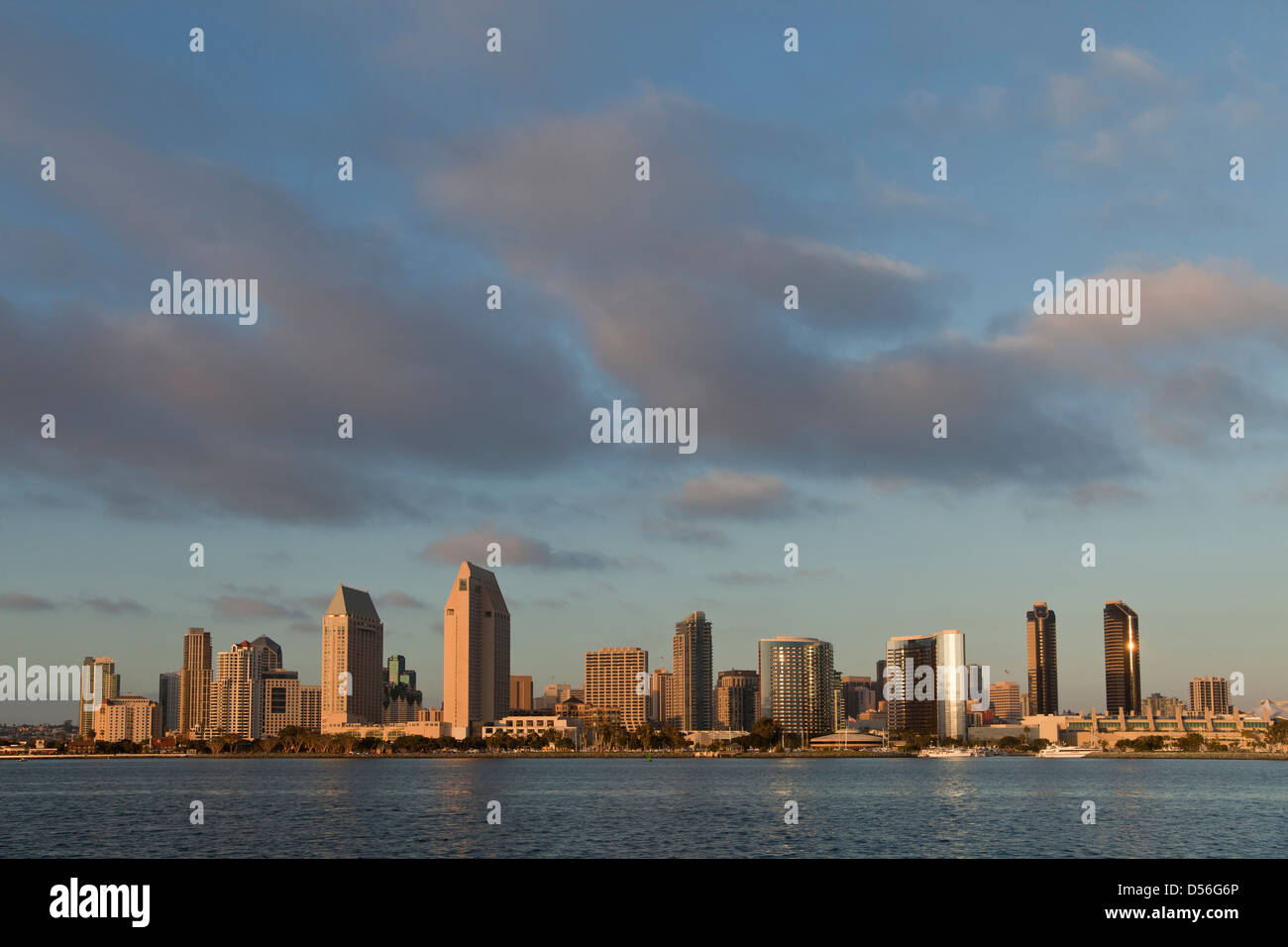 view from Coronado Island to the San Diego Skyline, California, United States of America, USA - Stock Image