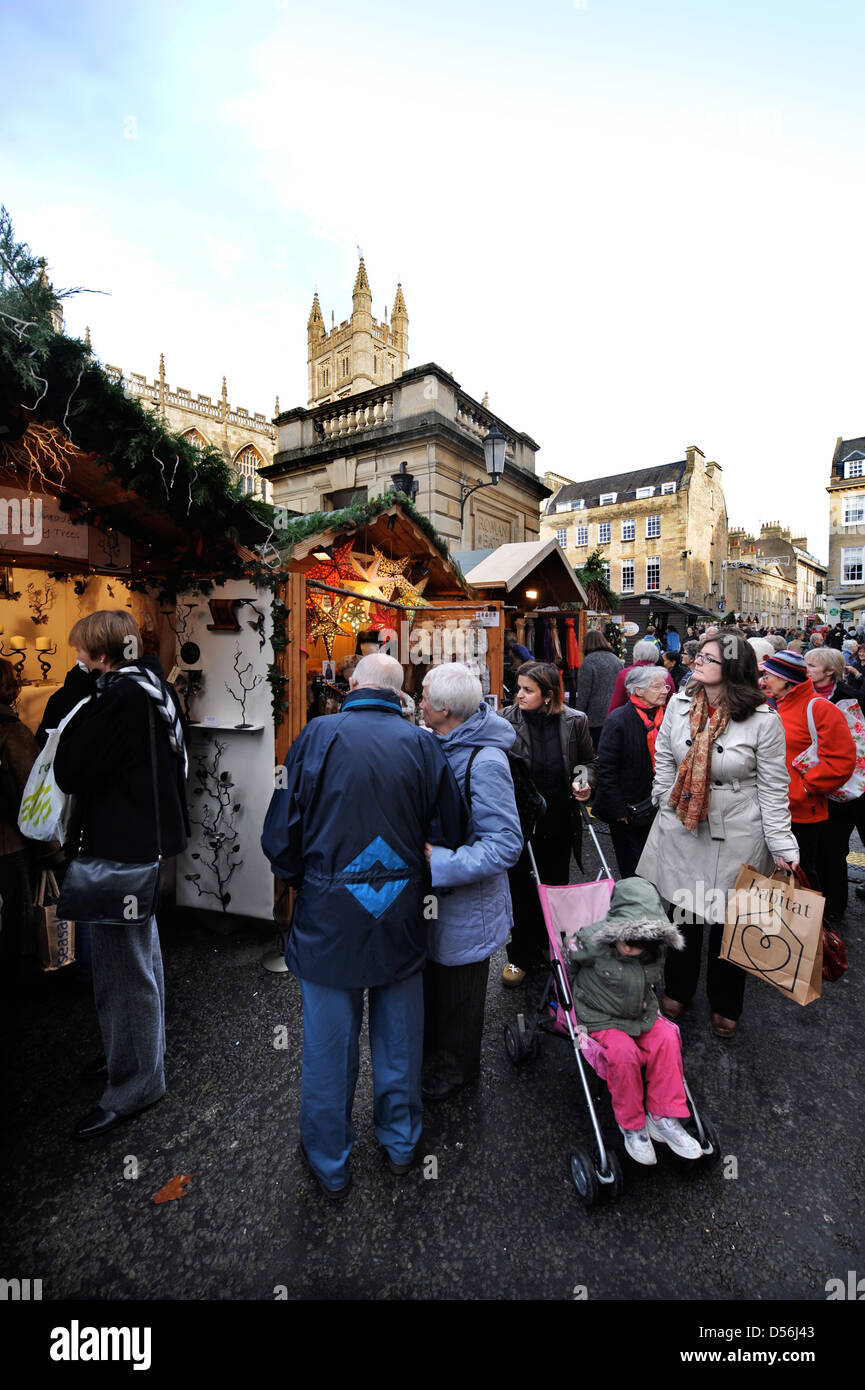 General view of York Street Bath and the Abbey during a Christmas market UK - Stock Image