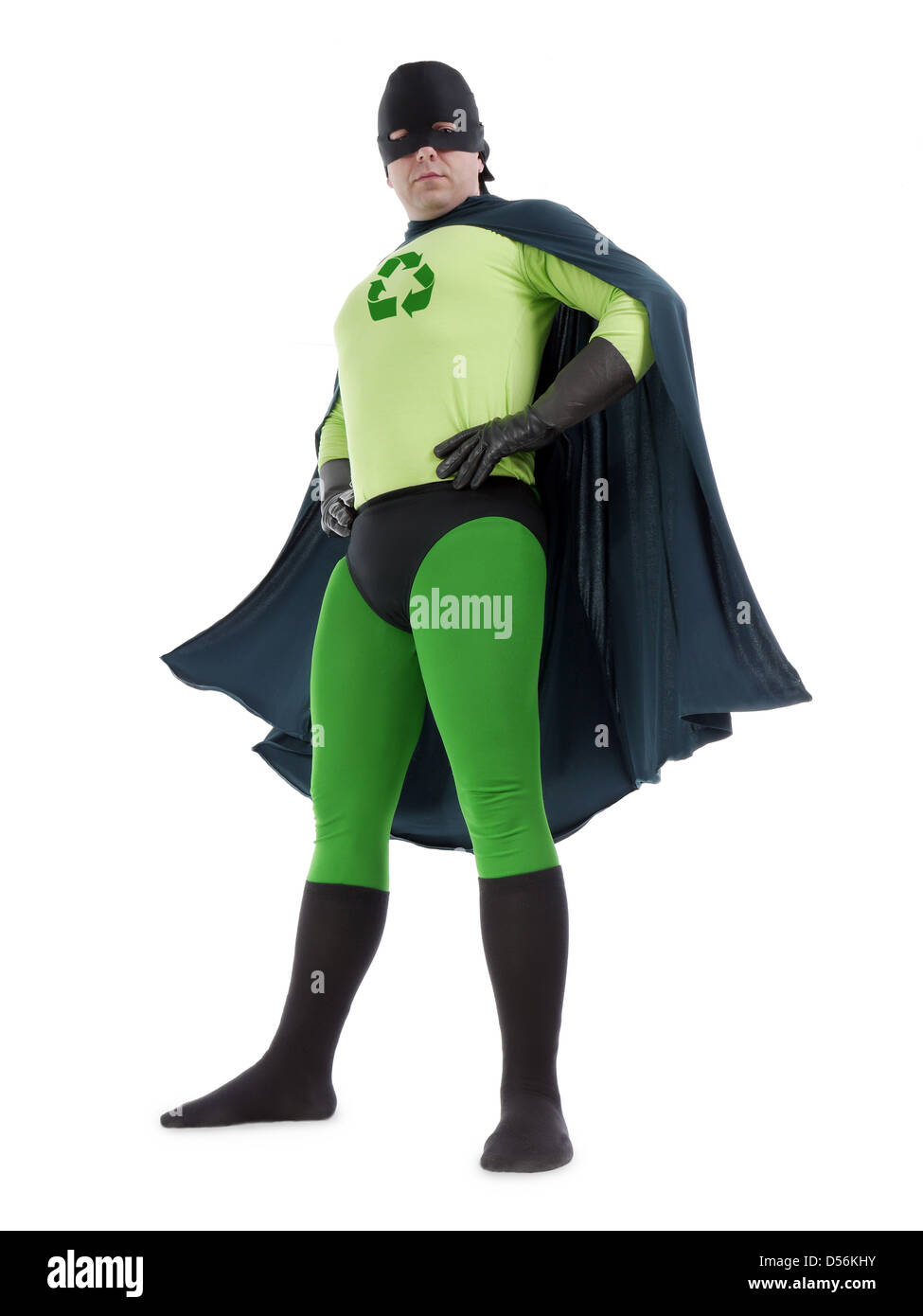 Eco superhero with green recycle arrow symbol on chest standing confidently over white background - recycle concept - Stock Image