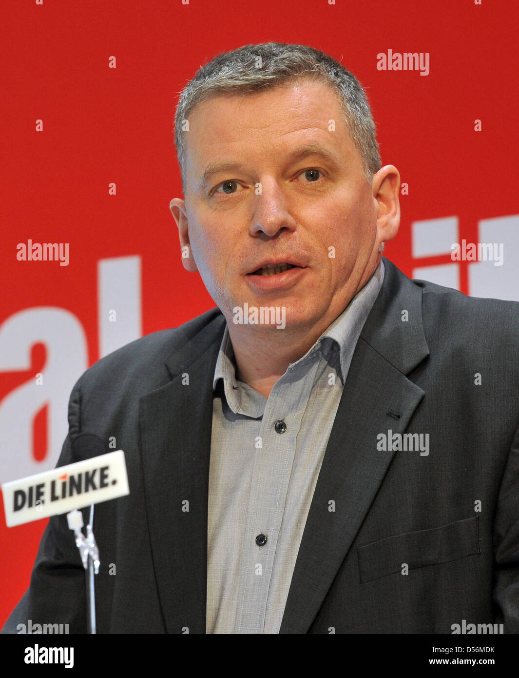 The chairman of the  Brandenburg section of left wing party Die Linke, Thomas Nord, speaks at the section's - Stock Image