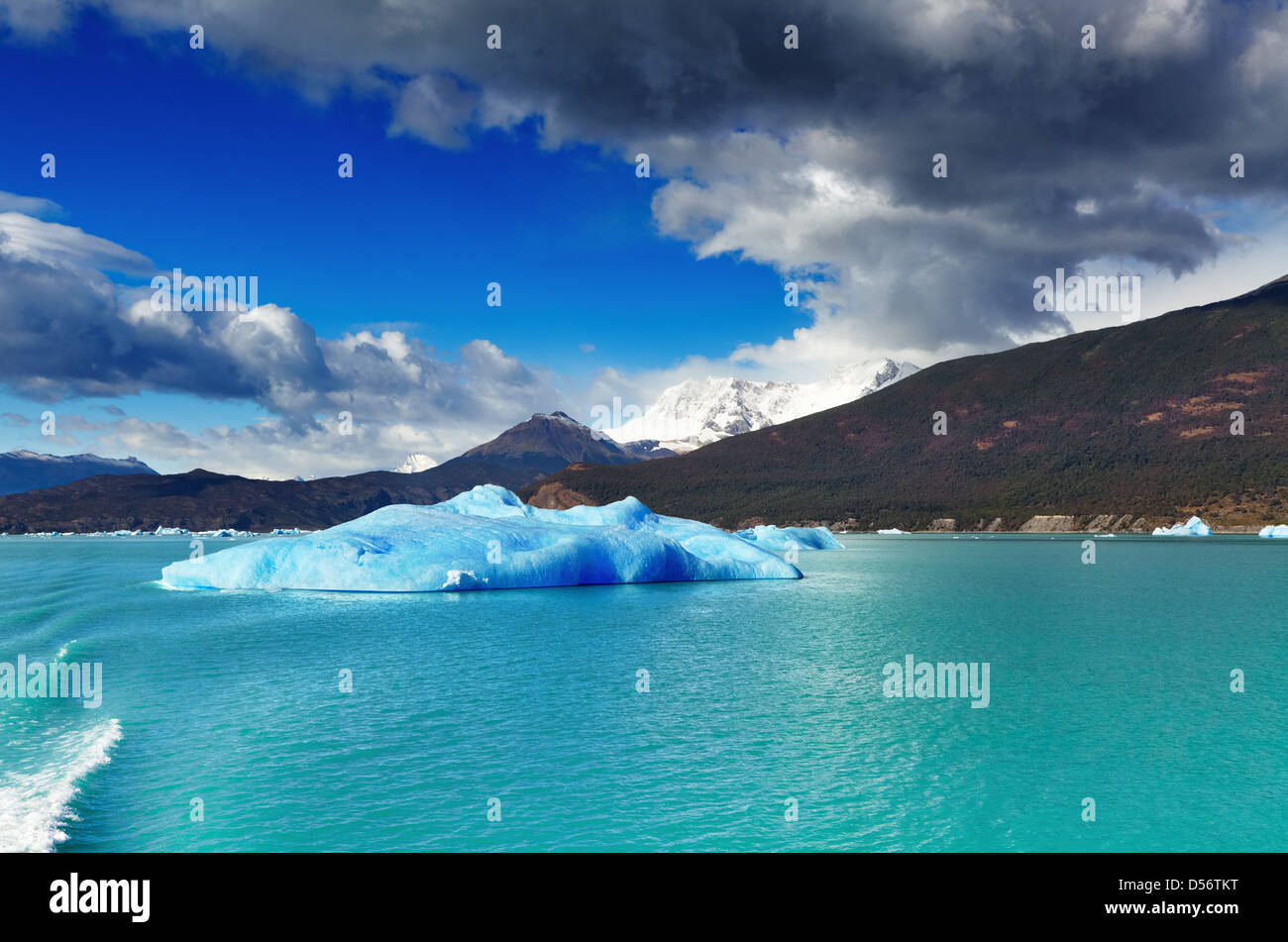Argentino Lake with ice floes, Patagonia, Argentina - Stock Image