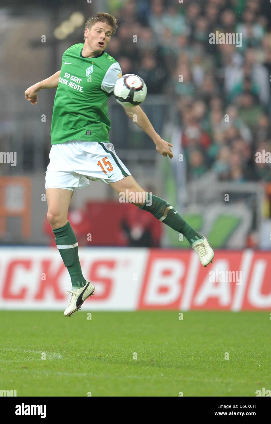 Fu§ball Bundesliga 28. Spieltag: Werder Bremen - 1. FC NŸrnberg am Samstag (27.03.2010) im Weserstadion in - Stock Image