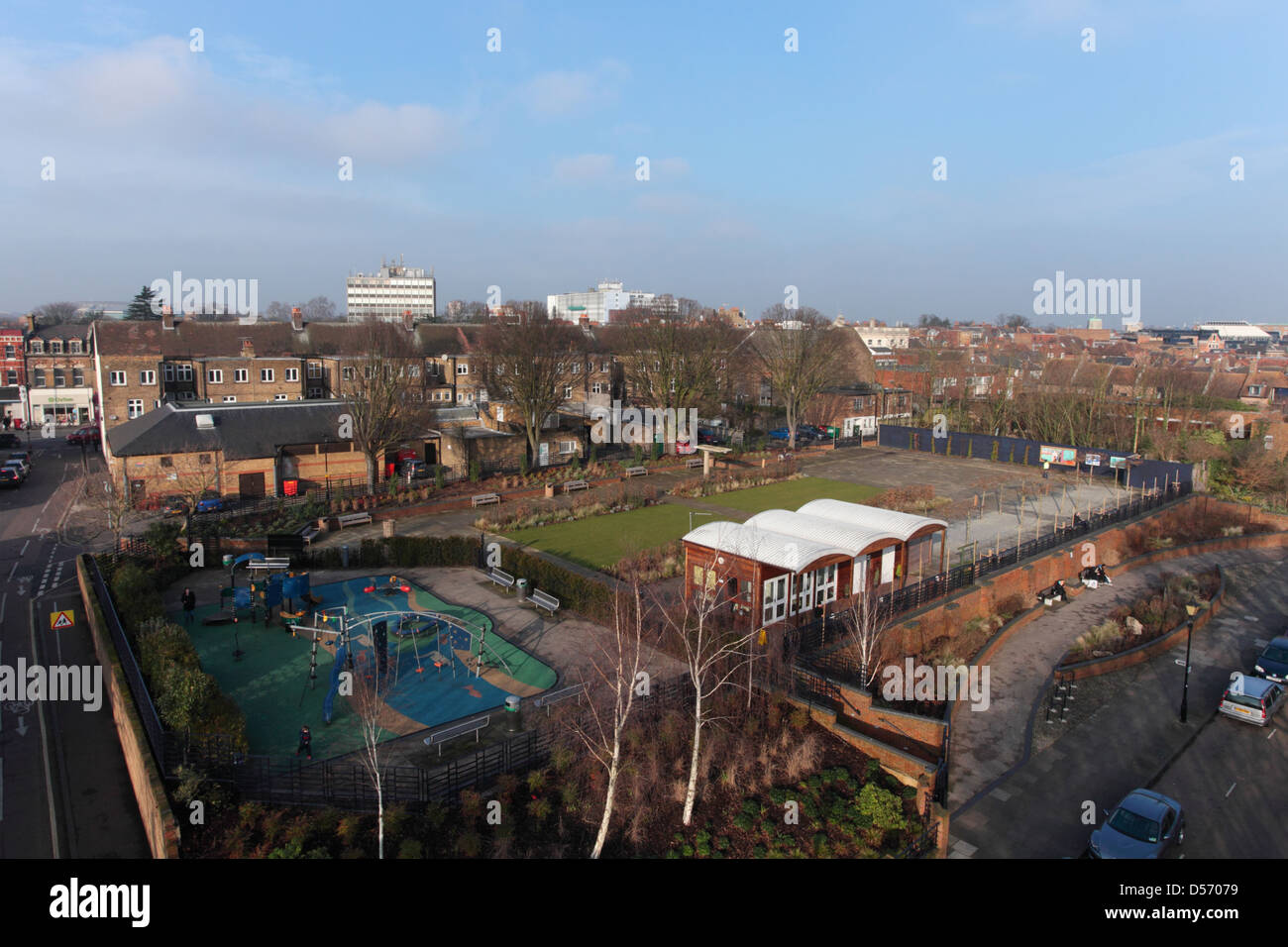 Twickenham Diamond Jubilee Gardens opened on the site of the old lido in June 2012 - Stock Image