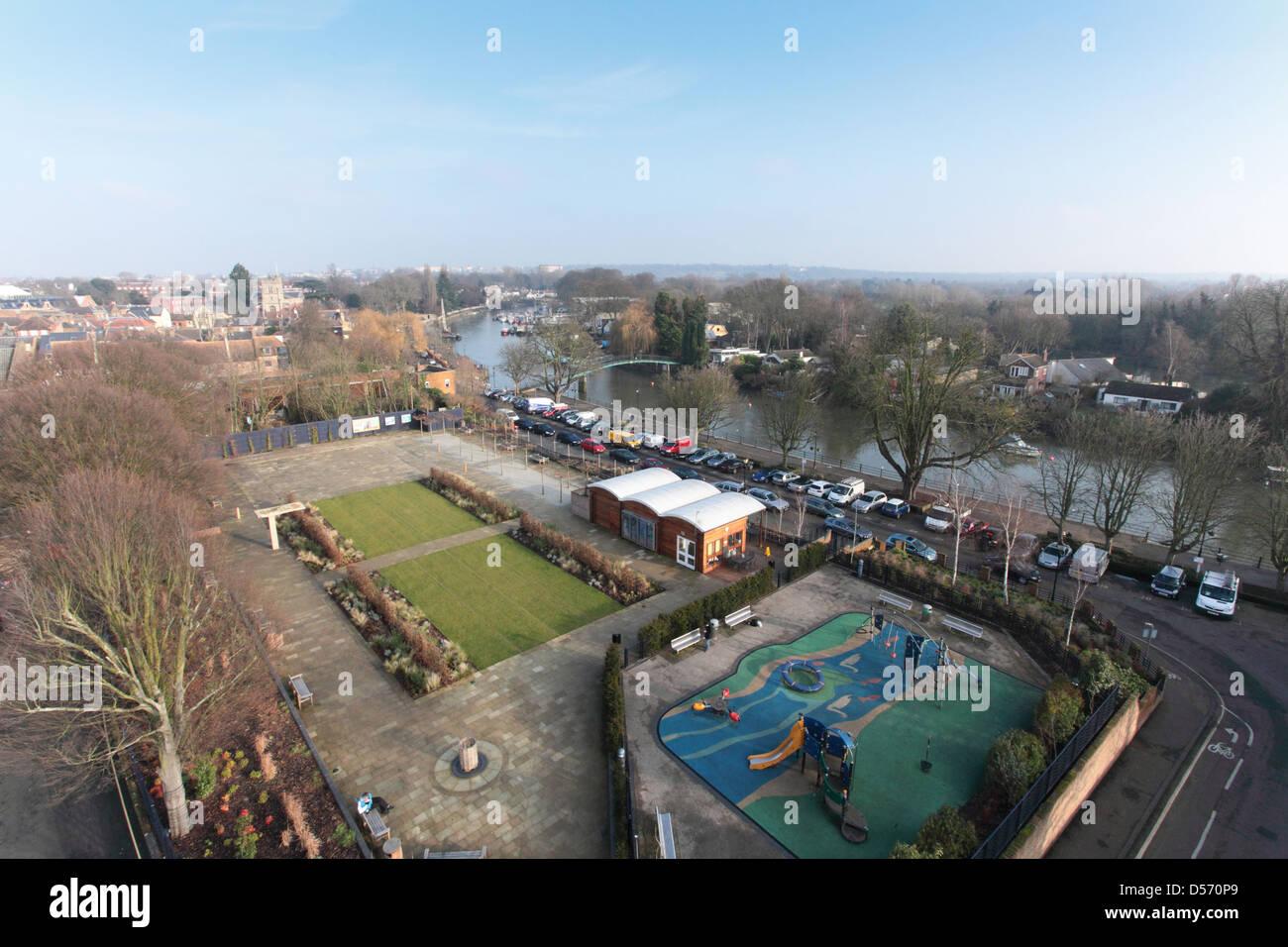 Twickenham Diamond Jubilee Gardens opened on the site of the old lido in June 2012 - Stock Image