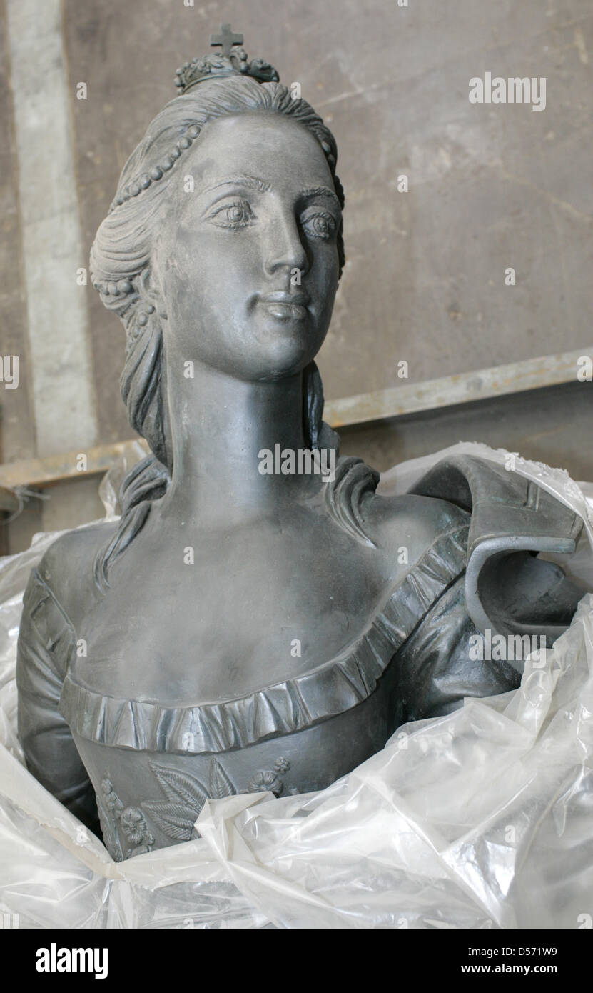 A bronze memorial of Catherine II of Russia (1729-1796) from Moscow pictured after its arrival in Zerbst, Germany, Stock Photo