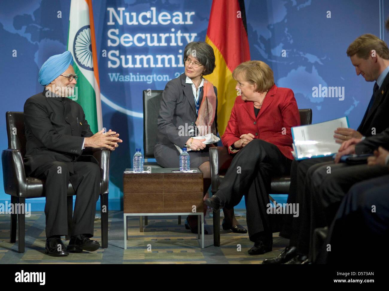 Treffen von Bundeskanzlerin Angela Merkel und Indiens Premierminister Manmohan Singh nach Ende des Nuclear Security - Stock Image