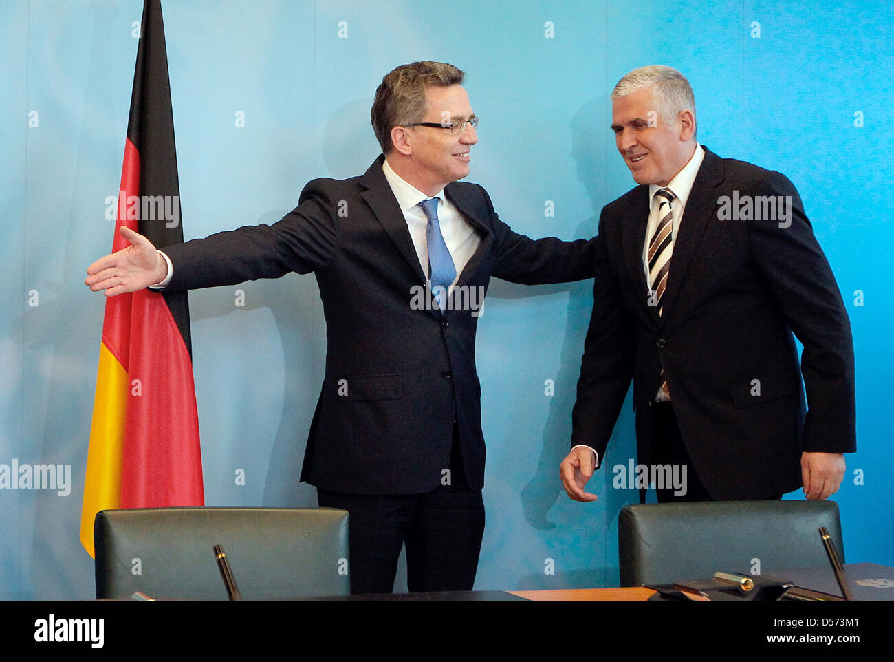 Kosovo's new Interiour Minister Bayram Rexhepi (R) and his German counterpart Thomas de Maiziere sign a readmission - Stock Image