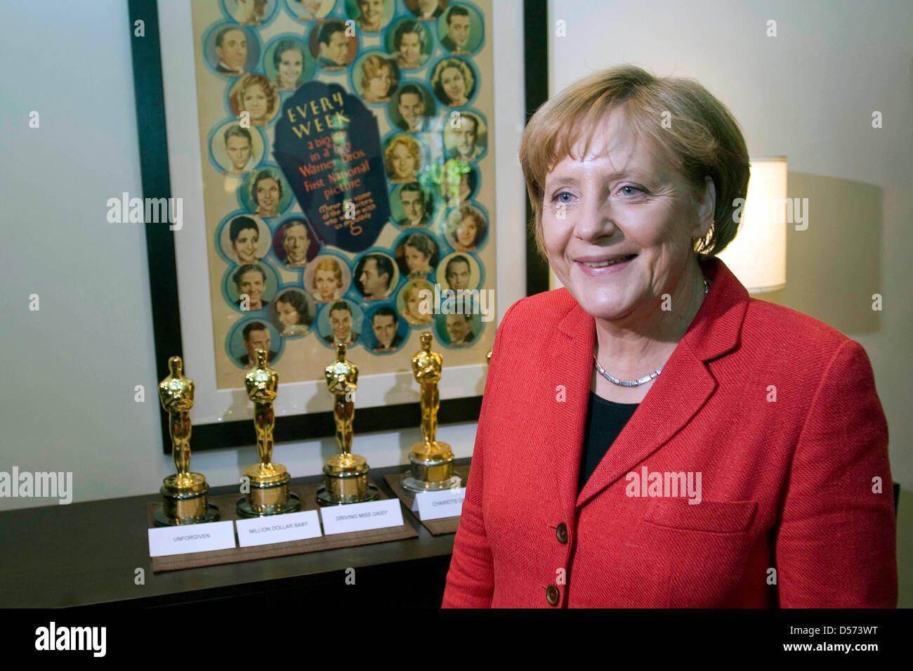 Bundeskanzlerin Angela Merkel am 14.04.2010 auf dem Studiogelände von Warner Brothers vor Oscars für den - Stock Image