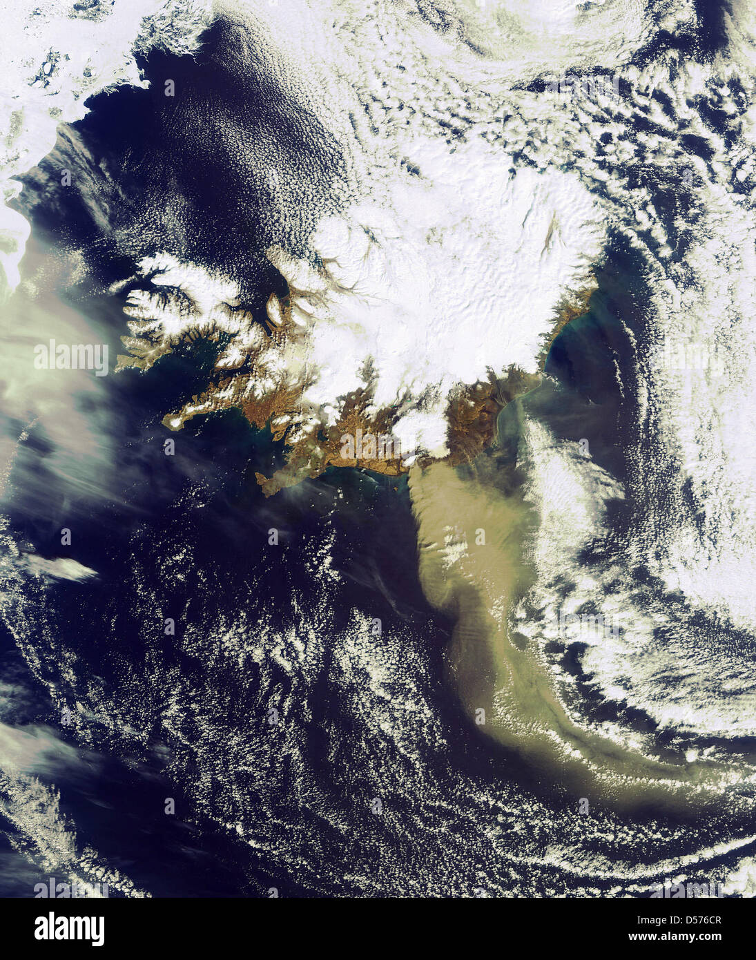 New satellite image of ash spewing from Icelandøs volcano 19 April 2010. In this image taken 14:45 CET by ESAøs Stock Photo