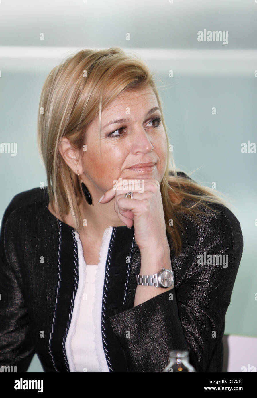 Princess Maxima of the Neterlands attends a brainstorming session with younger people about money at the Dutch Ministry - Stock Image