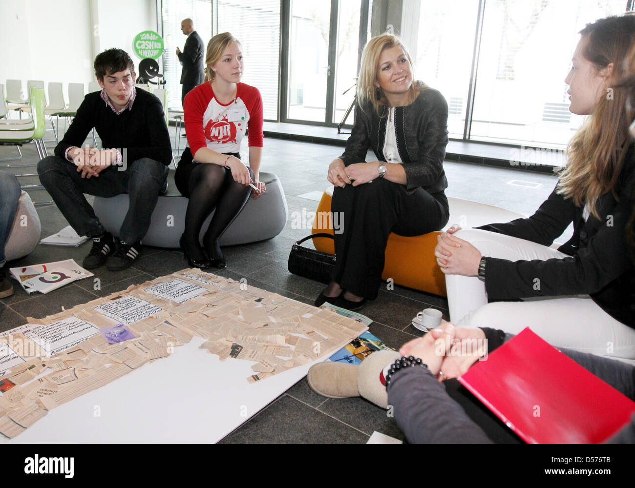 Princess Maxima of the Neterlands (C) attends a brainstorming session with younger people about money at the Dutch - Stock Image