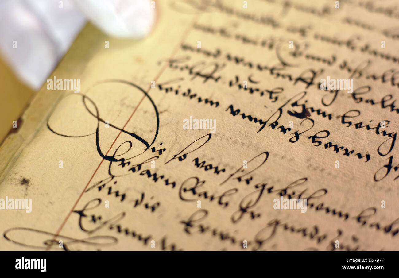 A 450-year-old script of a stenographer, describing the advocacy of reformer Philipp Melanchthon against the execution - Stock Image