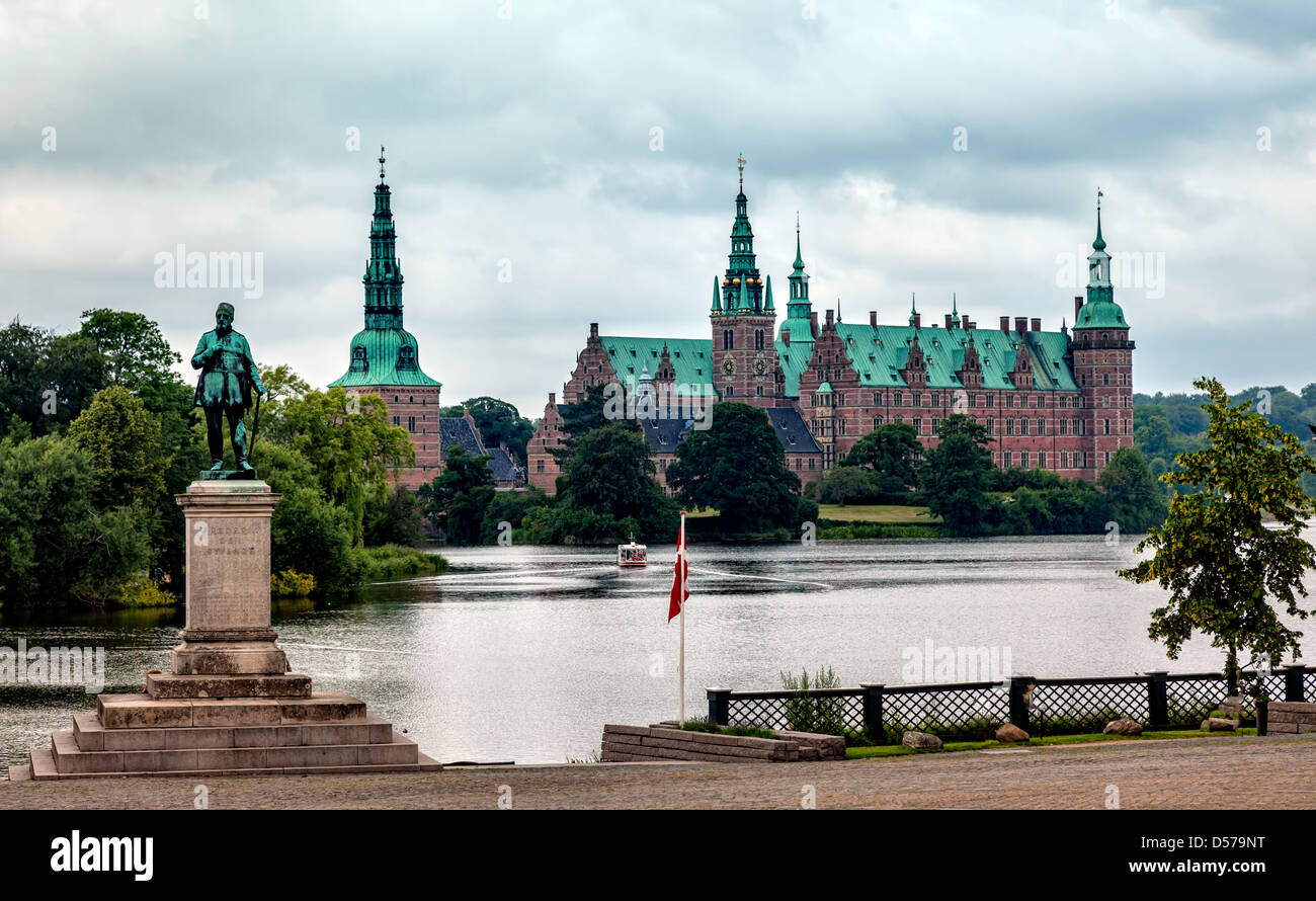 View of Frederiksborg castle in Hillerod, Denmark - Stock Image