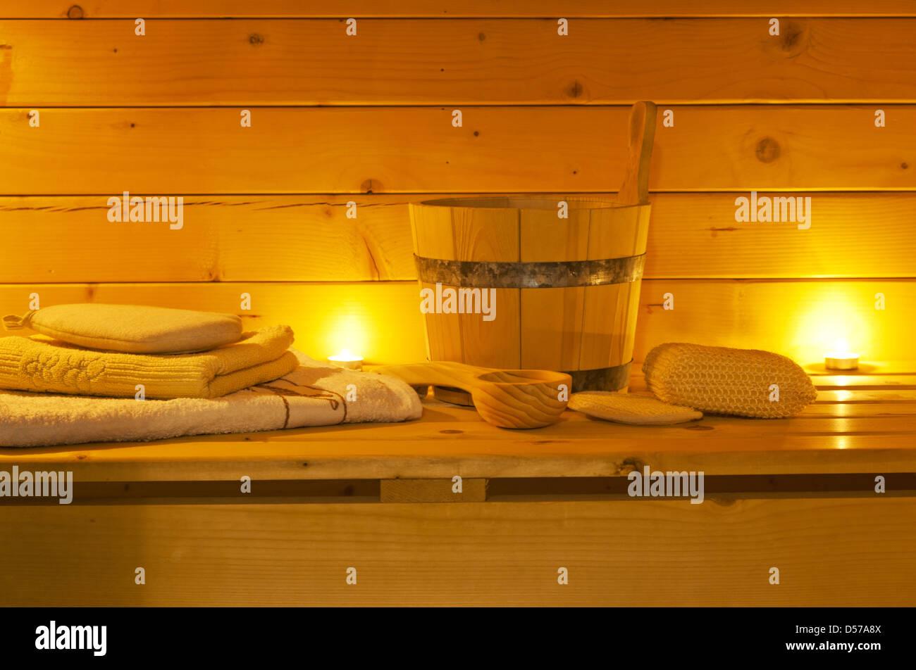 interior of sauna and sauna accessories - Stock Image