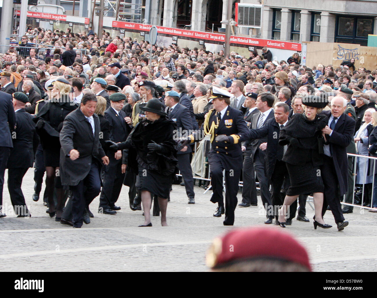 Queen Beatrix of the Netherlands (front L), Crown Prince Willem-Alexander of the Netherlands (C-R) and Princess Stock Photo