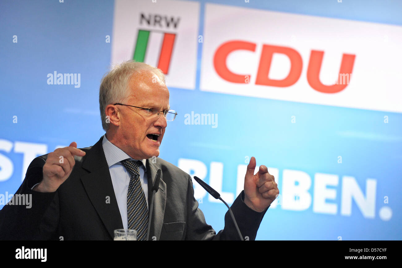 North Rhine-Westphalia's minister president Juergen Ruettgers talks during a campaign event in Duesseldorf, - Stock Image