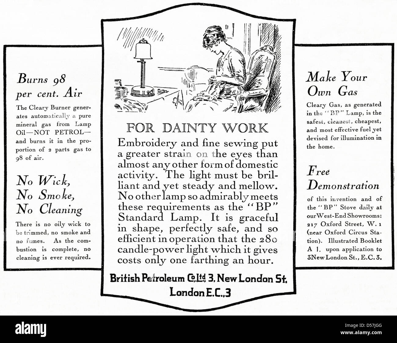 1920s Advertising Archive Black And White Stock Photos Images Alamy Gieve Original Body Oil Advert Bp British Petroleum Lamp Era Vintage Advertisement Print From English