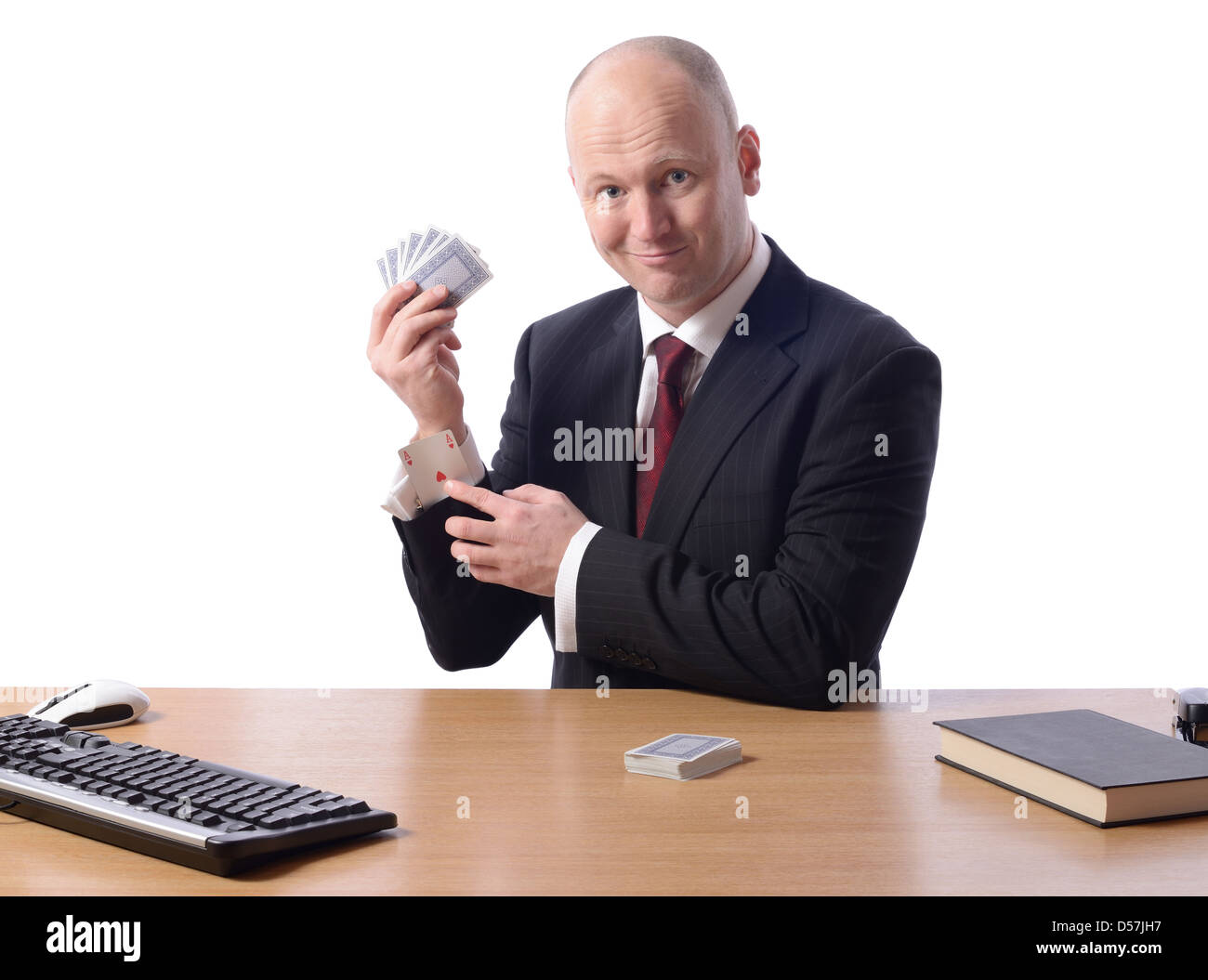 business man at with cocept of winning hand or upper hand - Stock Image