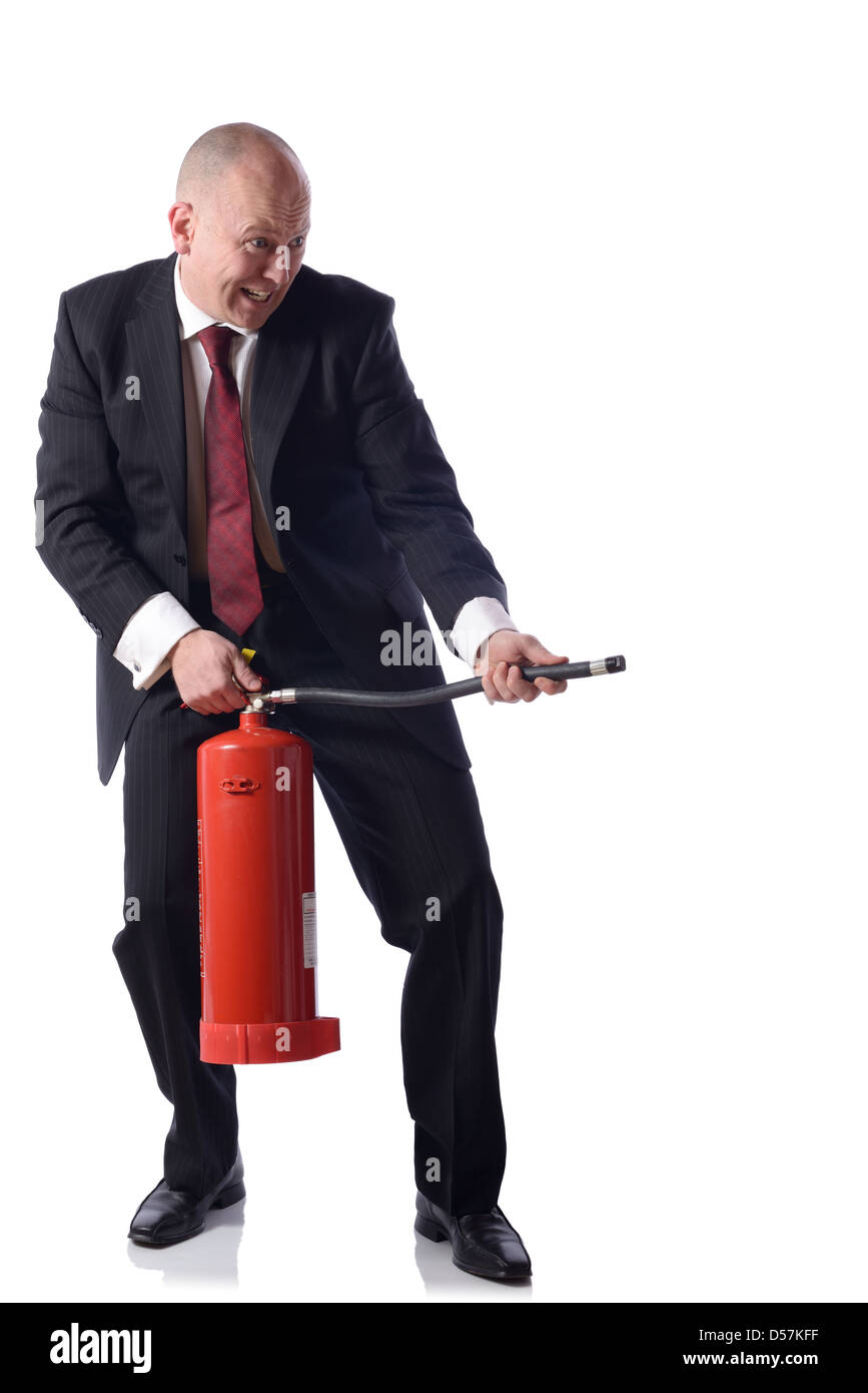 Businessman with fire extinguisher isolated on white. concept of putting out fires resolving problems in business. - Stock Image